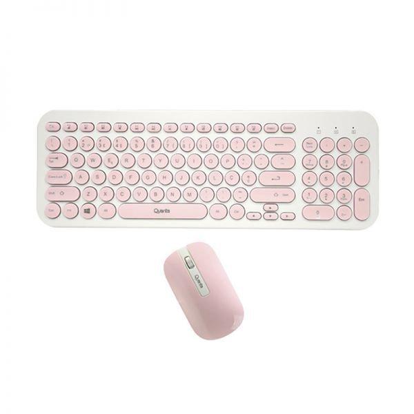 Kit Teclado + Mouse Quanta QTKTM20 Sem Fio - Rosa e Branco (Português)