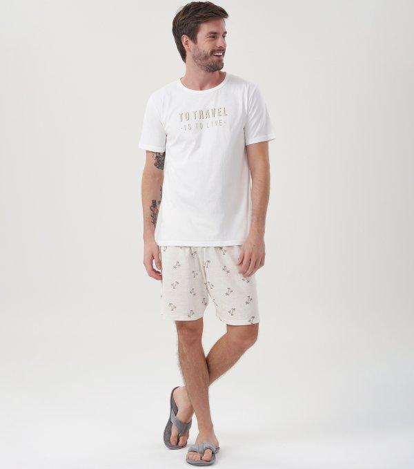 Pijama Manga Curta - 40685
