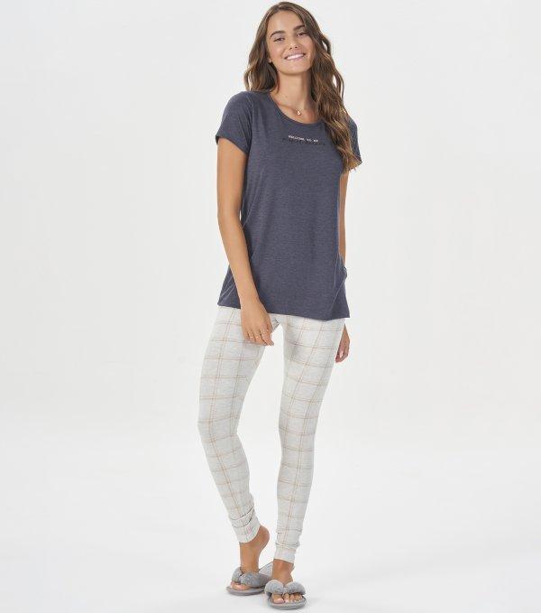 Pijama Manga Curta com Legging - 40802