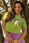 T-SHIRT CROPPED FEMININA MEIA MALHA MARINA