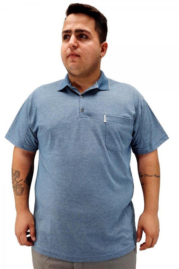 Camisa Polo Rajada Plus Size +