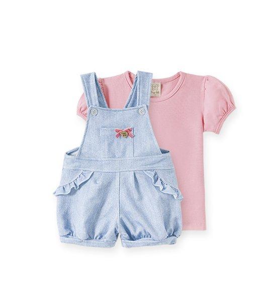 Conjunto Infantil Feminino Camiseta + Jardineira