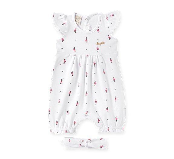 Macacão Curto Bebê Feminino + Faixa de Cabelo