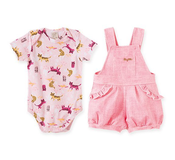 Conjunto Bebê Feminino Body + Jardineira
