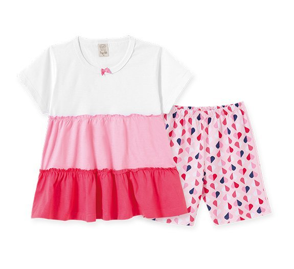 Pijama Infantil Feminino Blusa + Bermuda
