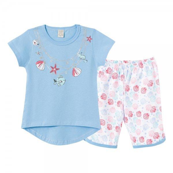 Pijama Infantil Feminino Camiseta + Bermuda