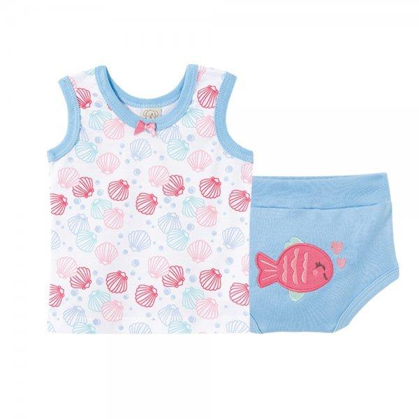Pijama Bebê Feminino Regata + Tapa Fralda