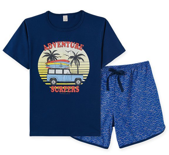 Pijama Adulto Masculino Camiseta + Bermuda