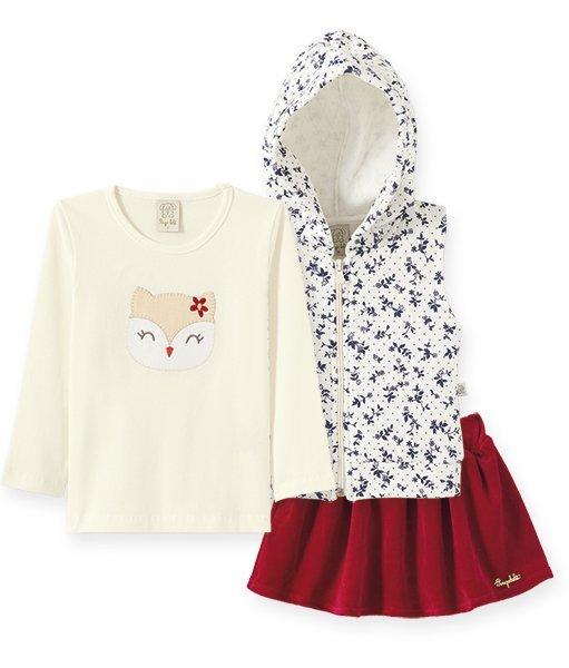 Conjunto Infantil Feminino Camiseta + Colete + Saia