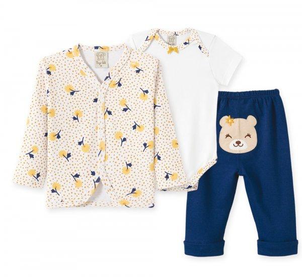 Conjunto Bebê Feminino Body + Casaco + Calça