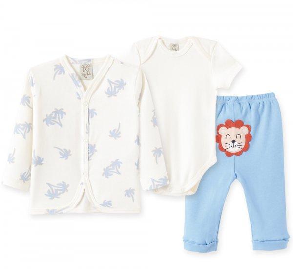 Conjunto Bebê Masculino Body + Calça + Casaco