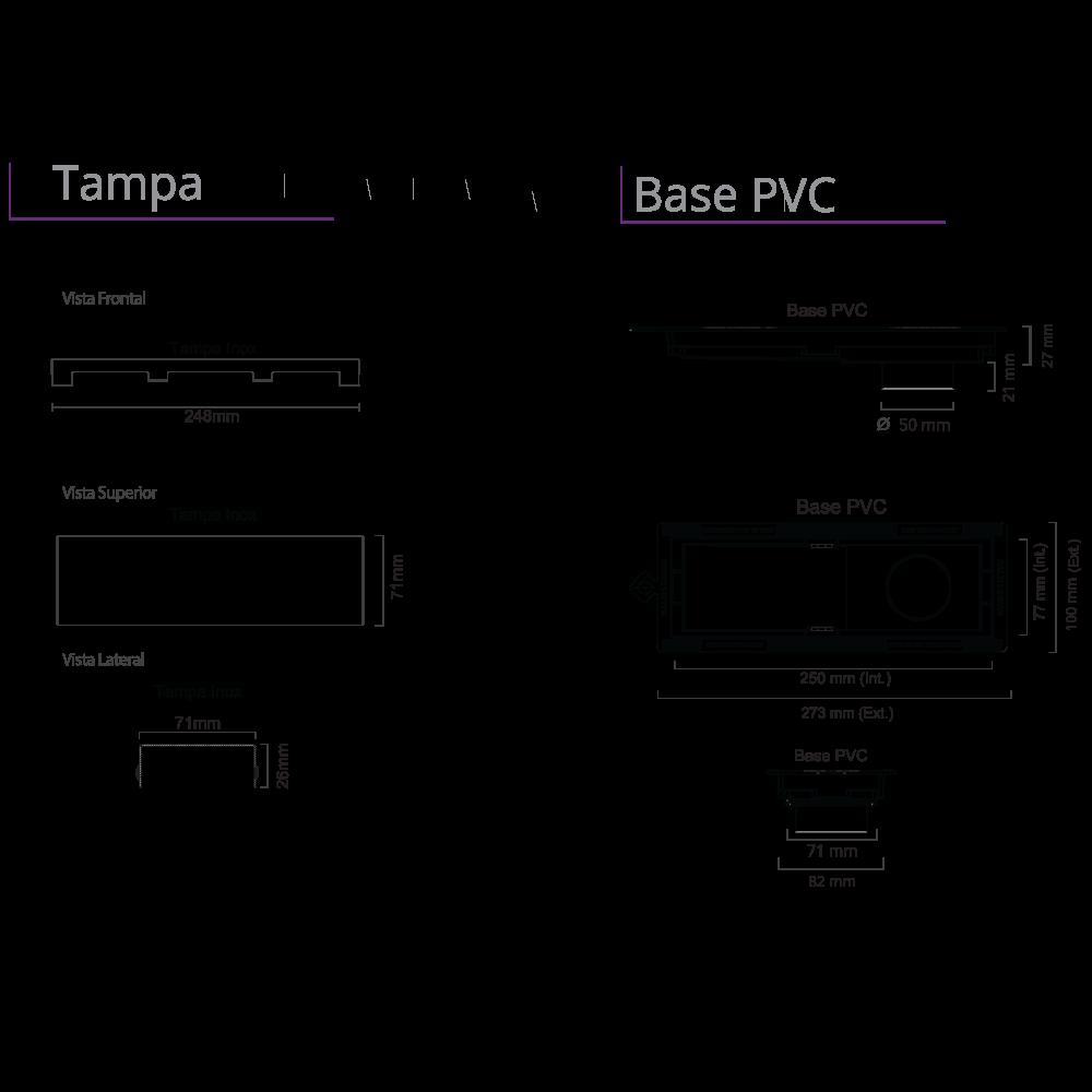 Ralo Linear Inox 25 cm Base PVC Black Matte Tiny