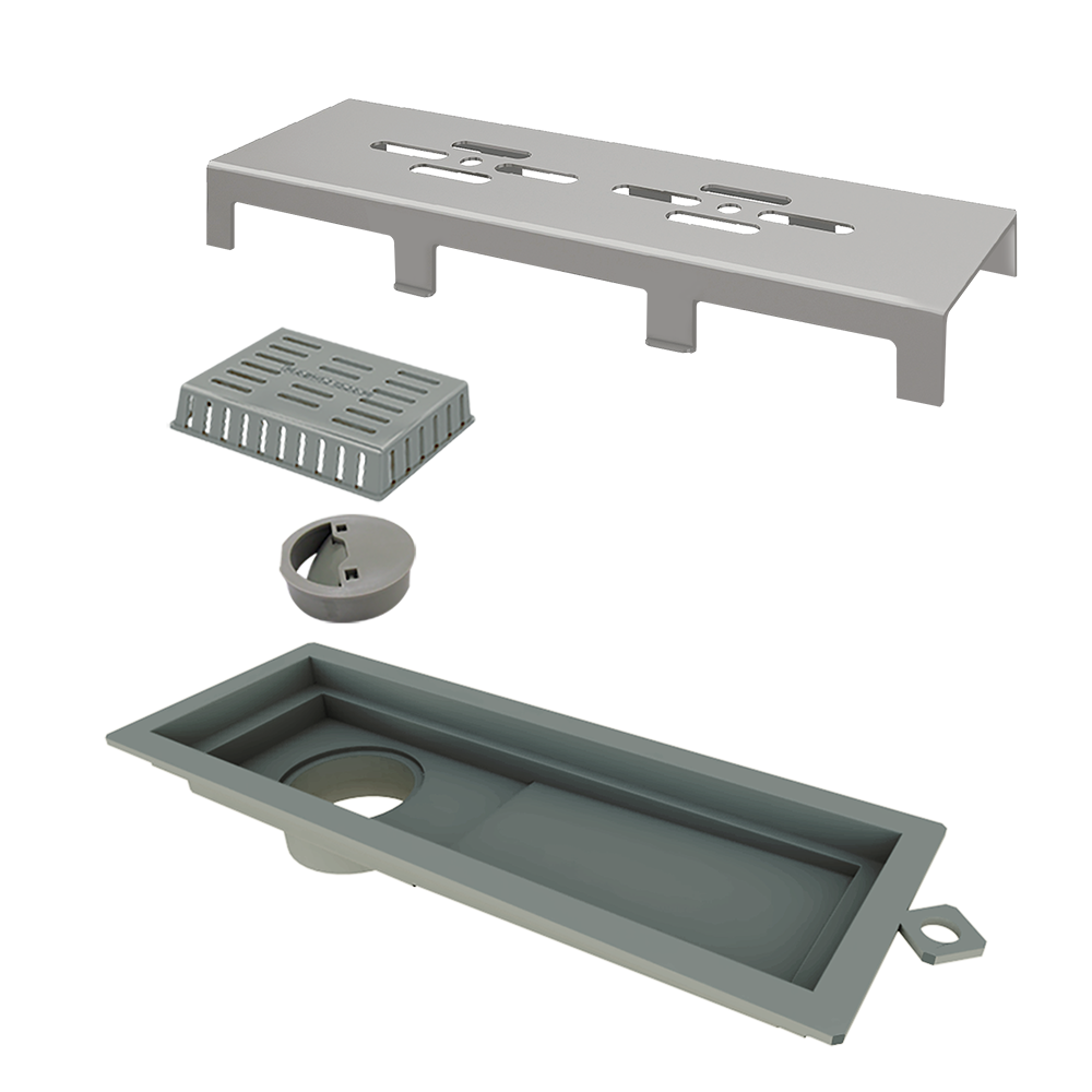 Ralo Linear Tiny Base PVC Tampa Inox Escovado Vazado 25 cm