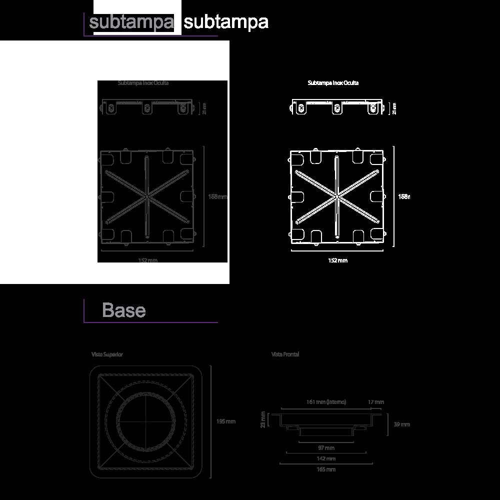 Ralo Linear Inox 15 cm x 15 cm Square Inox Polido