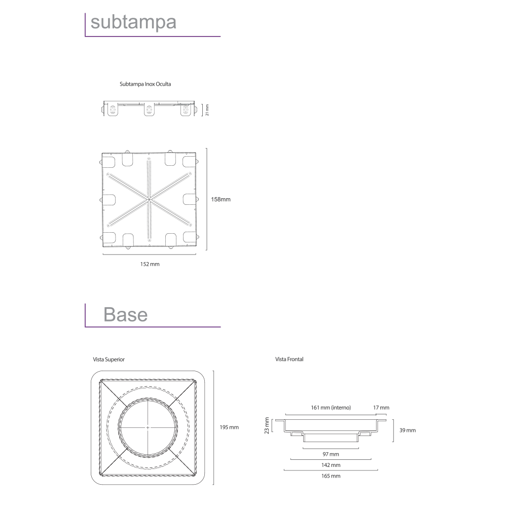 Square Inox Polido 15 cm x 15 cm