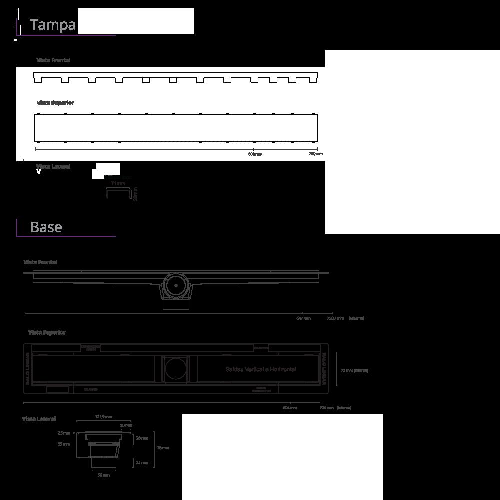 Ralo Linear Inox 70 cm s/ sifão Smart