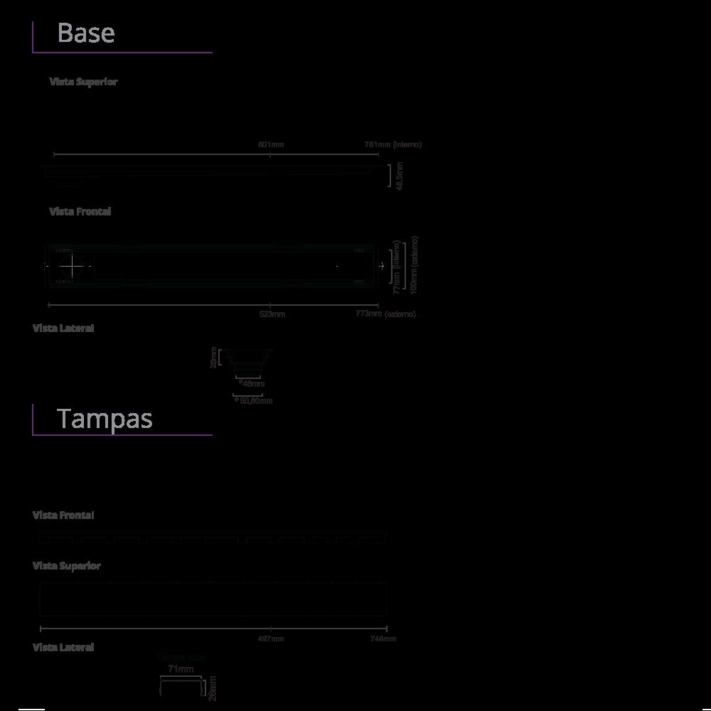 Ralo Linear Inox 75 cm Inox Polido Versatile