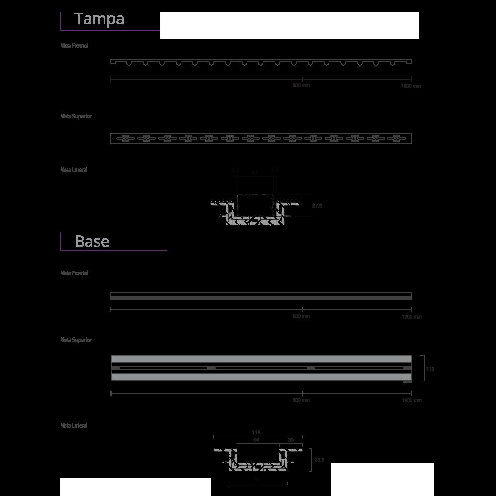 Ralo Linear Inox Vazado 80 cm  Base PVC Infinity Slim