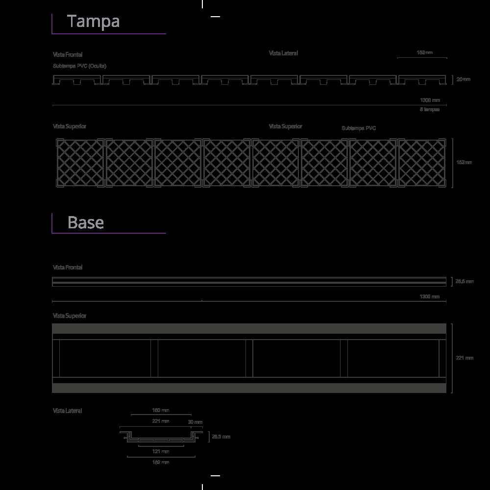 Ralo Linear Oculto 130 cm  Base PVC Infinity Plus
