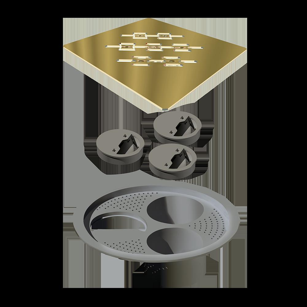 Grelha para Ralo Quadrado 15 cm X 15 cm Gold