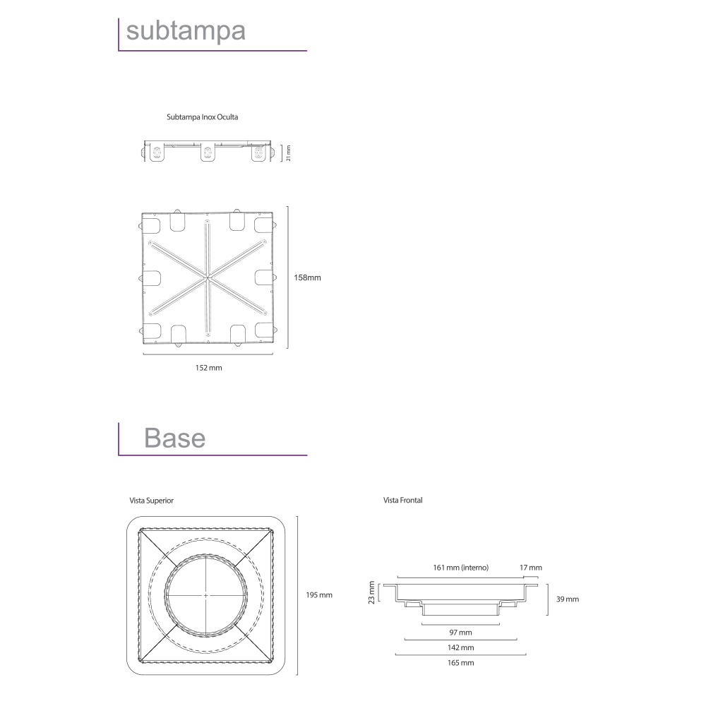 Ralo Linear Inox 15 cm x 15 cm Square Inox Escovado