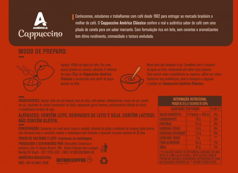 Cappuccino América Clássico Pote 200g