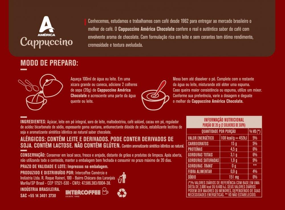 KIT 2 POTES CAPPUCCINO AMÉRICA CHOCOLATE 200G