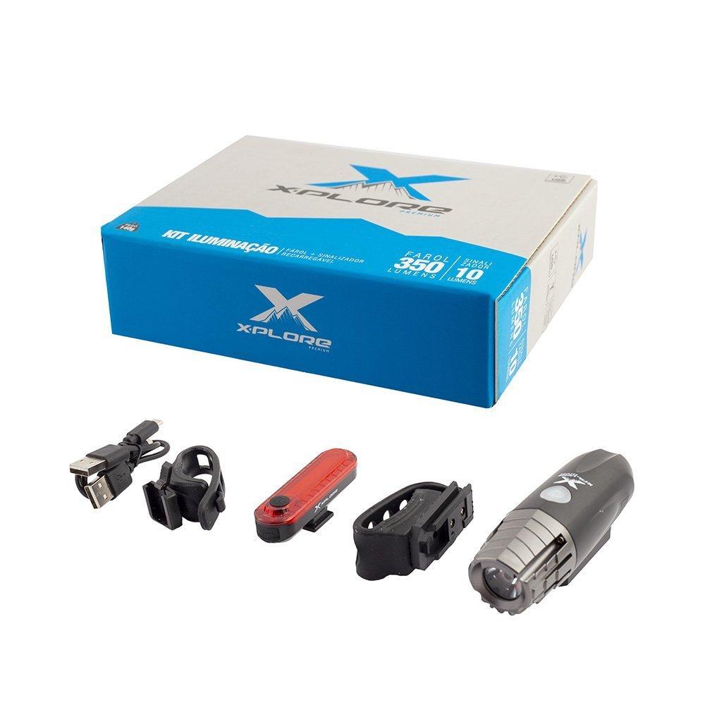 Kit Fárol e Pisca X-Plore 350 Lumens - Recarregável USB